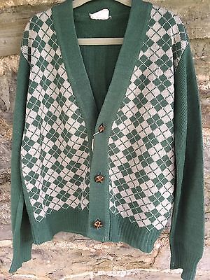 Lovely Boys Vintage Diamond Patterned Cardigan With Leather Buttons Age 11-12?
