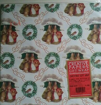 Vintage Rabbits Beatrix Potter? Christmas Wrapping Paper New Adorable