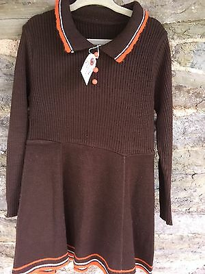 Vintage 1970s Little Girls Woolly Brown Dress Retro Approx Age 3-4?