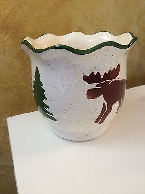 Ceramic Christmas Moose Lodge Cabin Winter Holiday Planter POT