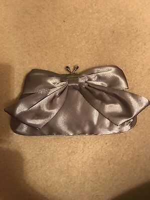 Silver Satin Formal Clutch Purse With Bow