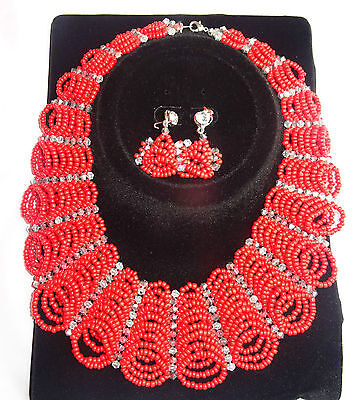 Red Abuja Connection Cheap Sales African Beads Bridal Wedding Party Jewelry Set