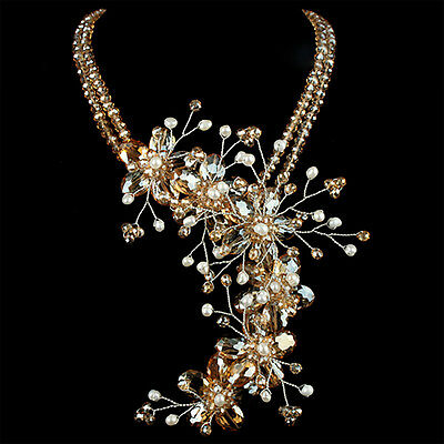 Hot Gold Sparkling Handmade Crystal Detailed Fashion Flower Beads Necklace
