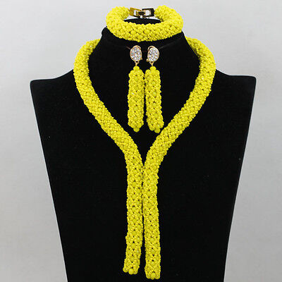 Yellow Netted African Nigerian Beads Bridal Wedding Jewelry Necklace Set