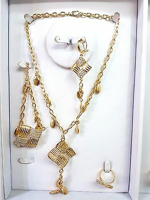 Fashion Gold plated Party Necklace Drop Earring Bracelet Ring Jewellery Set