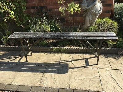 Vintage Wooden Black Trestle Bench Seat - garden military
