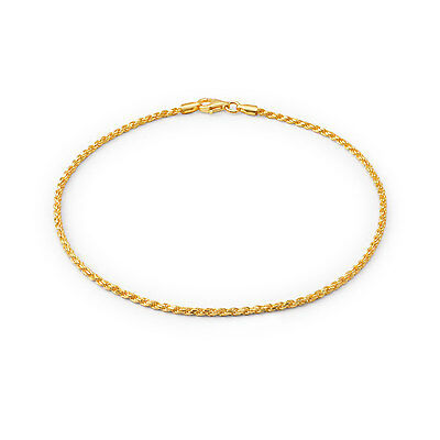 Bling Jewelry 40 Gauge 925 Sterling Silver Gold Plated Rope Anklet Italy
