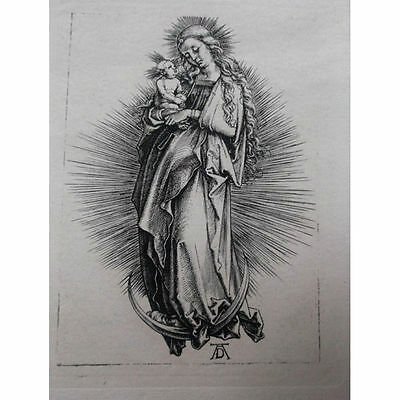 Albrecht Durer engraving woodcut c.1900 Madonna Virgin Christ Moon orig.c.1500