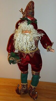 "ELF SANTA large 30"" plush w/Curled boots & Hat bells Christmas Decor Ina's Elfs"