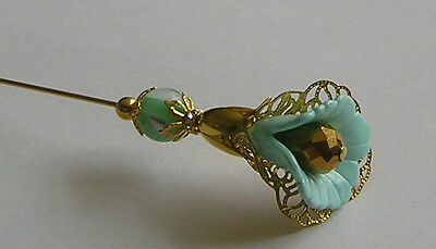 Pale Green & Gold Colour Filigree Vintage / Antique Style Hatpin / Hat Pin
