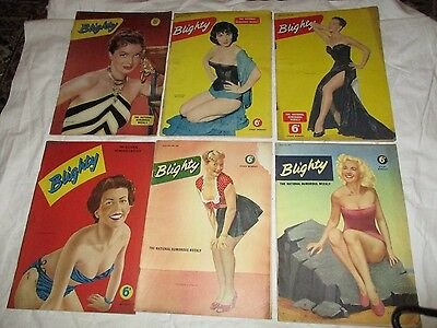 Job Lot 6 Issues Blighty The National Humorous Weekly 1955 Set Two