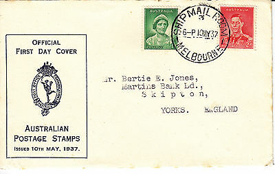 First Day Cover - Australian Postage Stamps - Melbourne - 10th May, 1937
