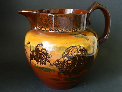 Antique Royal Doulton jug with American buffalo and grizzly brown bears hunting