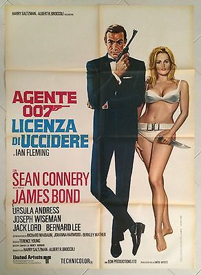 Original Italian 2Sh Dr. No James Bond 007 Licenza Di Uccidere Connery Andress !