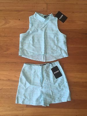 MISSGUIDED Blue & White Printed Co-Ord Two Piece. Size 8. BNWT
