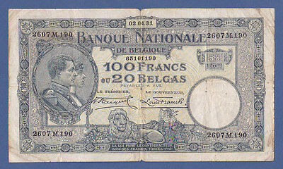 BELGIE .100 FRANCS=20 BELGAS 1931(With holes) .  ( See the descriptions)