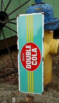 Double cola porcelain sign door push soda fountain diner general store display