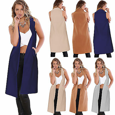 Womens Long Line Duster Coat Waistcoat Suit Blazer Vest Casual Sleeveless Jacket