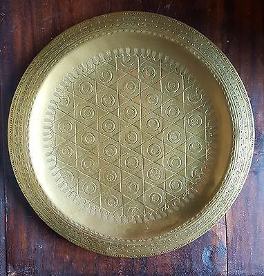 "Vintage Antique Islamic Hand Hammered Brass Wall Hanging Plate 9.75"" Geometric"
