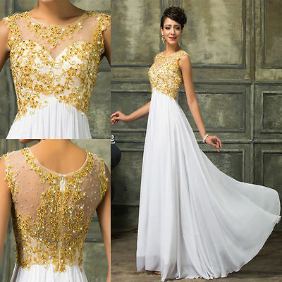 Beaded Long Dress Formal Prom Ball Cocktail Party Ball Gown Evening Bridesmaid