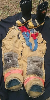 Morning Pride Firefighter Turnout/Bunker Pants w/suspenders & Thorogood Boots 10