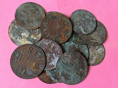 15 J.M.H Hop Tokens All As Found Ready For Cleaning