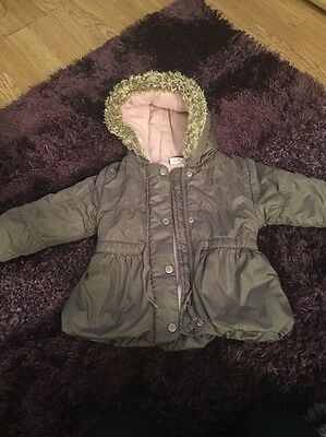 Next Girls Chocolate Brown With Pink Fleece Lining.12-18 Months