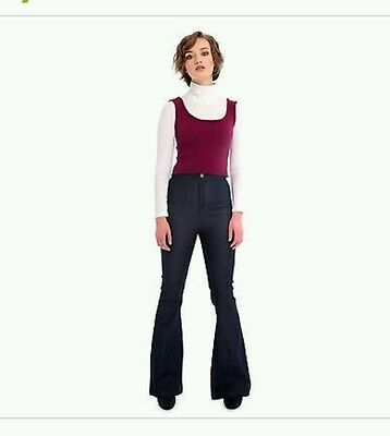 Collectif Vintage B&B Donna High Waisted Boot Cut Jeans Black size 18 bnwt