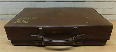 EARLY 20thC REVELATION LARGE LEATHER EXPANDING SUITCASE - GOOD CONDITION