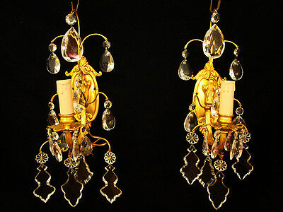 Antique Pair of Solid Bronze & Crystal Wall Sconces