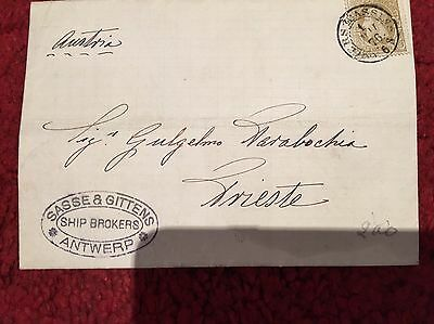 Old Letter By Sasse & Gittens Ship Brokers To Trieste 1876. See Description.