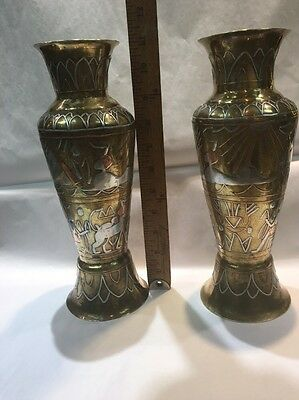 Antique Cairoware Inlaid Silver Brass Copper Vases Pair
