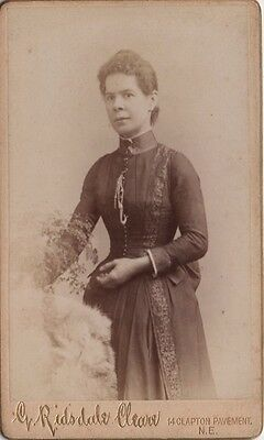 CDV photo Victorian Girl Dress Fashion - Ridsdale Cleare of Clapton London 1890s