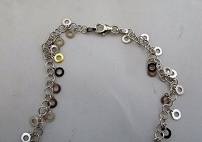 """Italy 925 Solid Sterling Silver Dangling Open  Circle Anklet 8.75""""estate"""