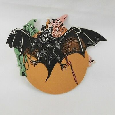 Scary Bat and ghost cardboard cut-out Dennison Company 1924 Rare hard to find!