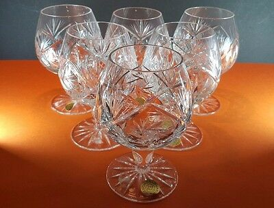 6 Bohemia Czechoslovakia Crystal Brandy Balloon Claret Snifter Glasses & Tags 5""