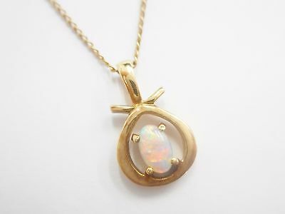 """Genuine 14k Yellow Gold Pear Shaped Fire Opal Pendant Necklace 18"""" #2701"""