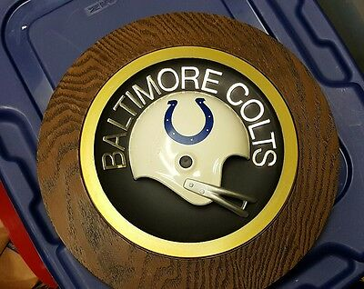 Vintage 1970S Baltimore Colts   14 Inch Round Wall Plaque.