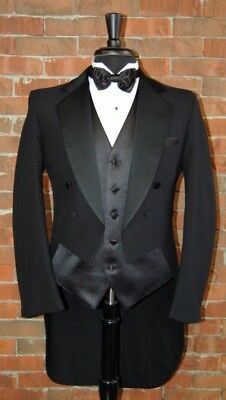 MENS 44 S BLACK PINSTRIPE TAIL TUXEDO JACKET / PANT / SHIRT / BOW by LORD WEST