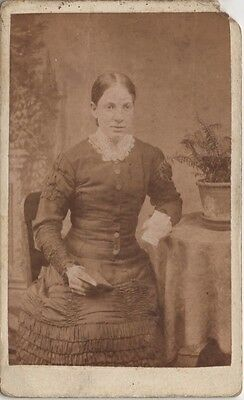 CDV photo Victorian Girl Holding Book Dress Fashion - Hide of Sheffield 1880s