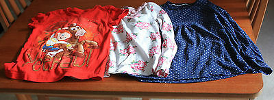 3 tops Disney Red motif TU blue white spots & cream & pink flowers age 6 years