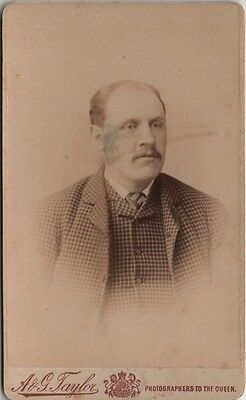 CDV photo Victorian Man Plaid Suit Fashion - A & G Taylor of Sheffield 1890s