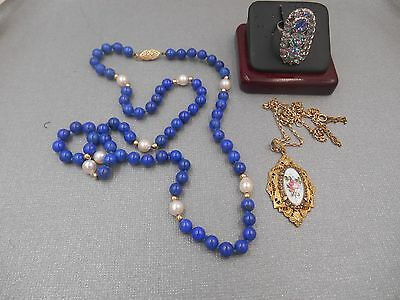 Estate Lot Lapis14K Gold Beads Necklace Art Deco Necklace And Sterling Ring