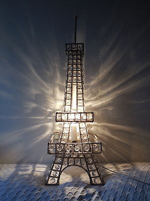 """~c 1950 French Mid Century Eiffel Tower Beaded Lamp PARIS 28"""" Tall Sconces OLD ~"""
