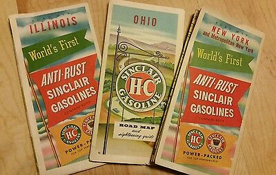 1950's Vintage Sinclair Road Maps - New York,  Ohio,  Illinois