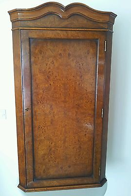 Burr Walnut Corner Cupboard, Cabinet  with  3 shelves and key