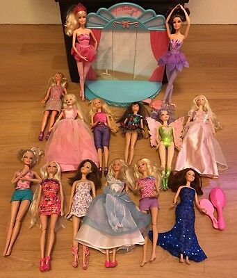 Barbie & dolls with clothes bundle With Dance Stage Studio