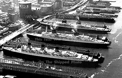 """Poster Print: 24"""" x 36"""": SS United States, SS France & RMS Queen Mary, NY, 1962"""
