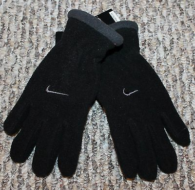 New! Boys Nike Winter Gloves (Fleece; Warm! Black/Gray) - Youth 7-8-10-12-14-16