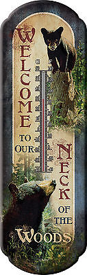 WELCOME TO OUR NECK OF THE WOODS TIN THERMOMETER Bear Cub Metal NEW Camp Cabin
